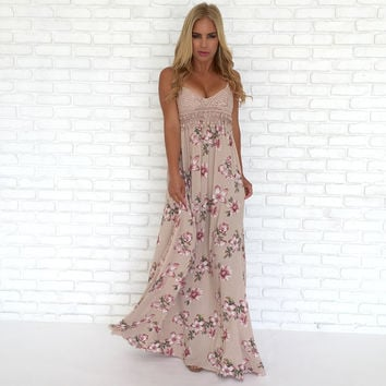 All Organic Crochet & Floral Maxi Dress