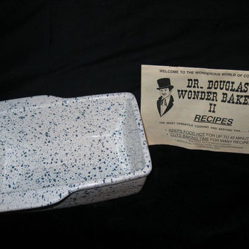Vintage Dr Douglas Wonder Baker / Ceramic Baking Pan / Blue and White / Loaf Pan