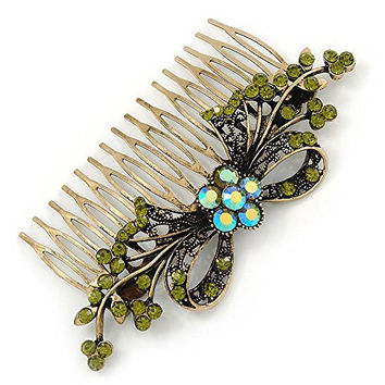 Vintage Inspired Olive Green/ AB Swarovski Crystal 'Flower With Bow' Side Hair Comb In Antique Gold Tone - 115mm