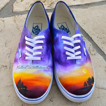 Custom Painted Landscape Galaxy Ombre Vans Shoes