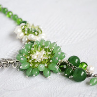 Jewelry Beaded Green Necklace, Сhrysoprase Necklace with Jade Perl flowers, Beading, Beadwoven, Beadwork, Wirework Necklace, Fashion 2015