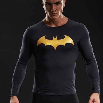 Batman Dark Knight gift Christmas Batman T shirt Men Cotton Lycra Compression Shirts 2017 New Fashion Gold/Silver Short Sleeve Tops For Male Fitness Clothing AT_71_6