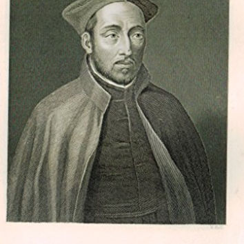 "Antique Portrait - ""IGNATIUS DE LOYOLA"" - Steel Engraving - c1860"