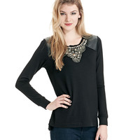 Women's Apparel | Extra 30-50% Off Already-Reduced Sportswear | Faux Leather Top with Embellishments | Lord and Taylor