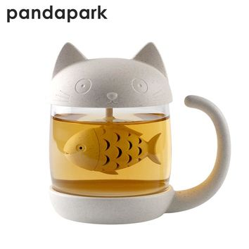 Pandapark Cute Cat Glass Personality Milk Mug With Infuser Office Coffee Tumbler Creative Breakfast Mugs MCC042