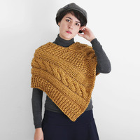 Chunky Cape with Knitted Braid - Woman's Knit Poncho in Gold / Winter Fashion