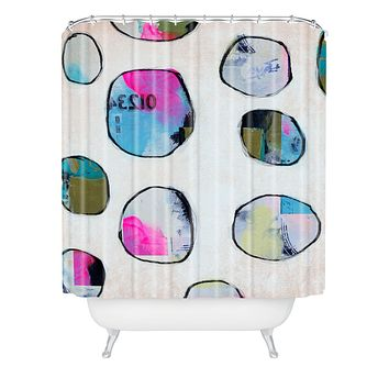 Natalie Baca Circles In Neon Shower Curtain