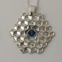 "Sterling Silver Honeycomb Reversible Pendant with Fresh Water Pearl and 20"" Sterling Double Rope Chain"
