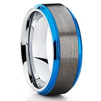 Blue Tungsten Wedding Band - Black - Gray Tungsten Ring - 8mm - Brush