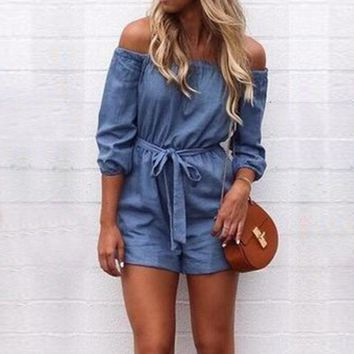 Denim Playsuits 2018 Rompers Womens Jumpsuit Sexy Off Shoulder Slash Neck Solid Half Sleeve Backless Casual Overalls