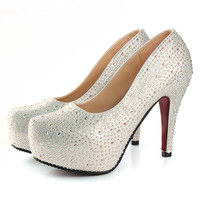 Women High Heels Prom Wedding Shoes Lady Crystal Platforms
