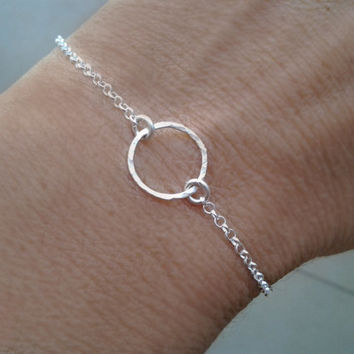 Eternity Love circle Bracelet, Friendship, Bangle, Endless love , charm, Birthday ,Bridesmaid jewelry, best friend gift, Karma bracelet