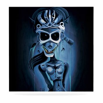 "Ivan joh ""Tattoo Girl"" Black Blue Pop Art Fantasy Illustration Painting Luxe Square Panel"