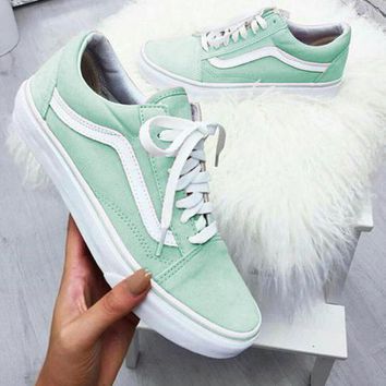 Vans Old School Casual Shoes Men and women Pink cloth shoes Mint green
