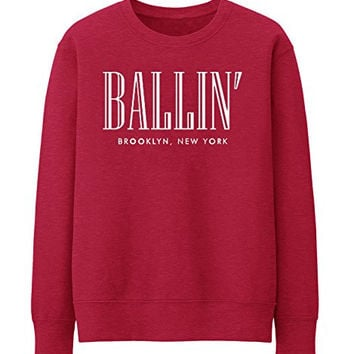 BALLIN PARIS NEW YORK BROKLYN Unisex Crewneck Sweatshirt Top Funny - Red