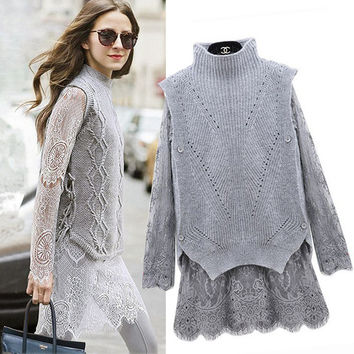 Women Autumn 2 Piece Sweater Lace Dress Female Vintage Midi Rabbit/Angora Hair Knit Pullover& Long Sleeves Lace Two-piece Dress