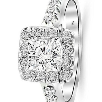 d.1.25 Carat 14K White Gold Square Halo Cushion GIA Certified Round Cut Diamond Engagement Ring (0.75 Ct J Color VS1 Clarity Center Stone)