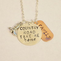 Country Road Take Me Home Hand Stamped Necklace by Charmed Elements