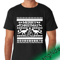 Ugly Christmas T-Rex Crewneck T-shirt High Quality Design in Men's and Women's