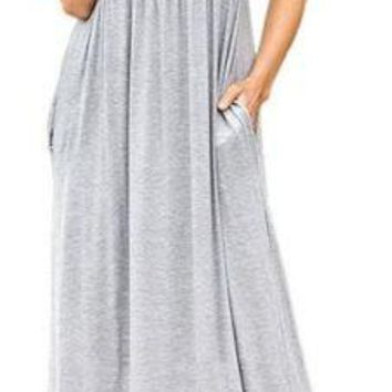 Fashion Womens Short Sleeve High Waist Loose Casual Long Maxi Dress With Pockets