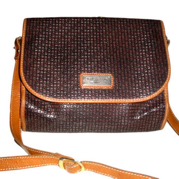 French Vintage 70s TED LAPIDUS Paris Laminated Logo Leather Brown Messenger Crossbody Bag - Incredible Condition Like New
