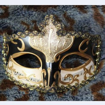 Retro Handmade Resin Glitter Notes Phantom Opera Italian Venetian Masquerade Halloween Dance Party Mask