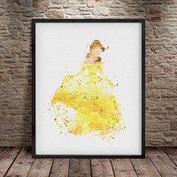 Disney Princess, Disney Art, Wall Art, Belle Beauty and the Beast, Wall Art Disney print, Watercolor print,  Disney watercolor, Disney - a20