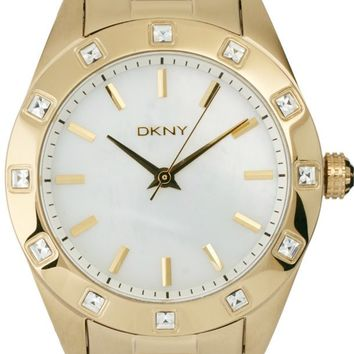DKNY Glitz Gold Toned SS White Mother of Pearl Women's Watch NY8661
