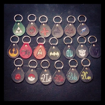 Geek Themed Leather Keychains