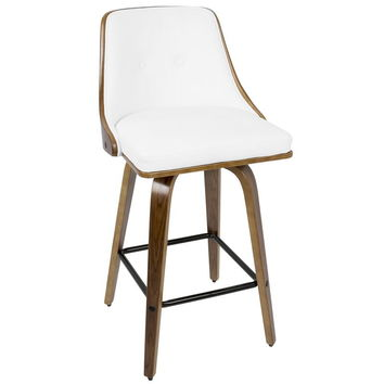 "Gianna 26"" Mid-Century Modern Counter Stool+ in Walnut and White PU Leather"