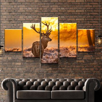Deer Sunset Canvas Set