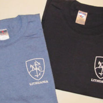 Lithuania T-Shirt : VYTIS Emblem S-3XL Black Blue Lithuanian Knight Shield
