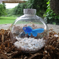 Fish Bowl Ornament - Blue Fish with White Stones - Christmas Ornament, Co-Worker Gift, Ornament Exchange Gift