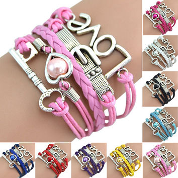 hot sell Womens Handmade Retro Design Love Anchor Key Multilayer Charm Leather Bracelet  56WV Black