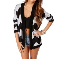 BlackWhite Chevron Print Cardigan