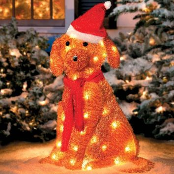Lighted Golden Retriever with Santa Hat