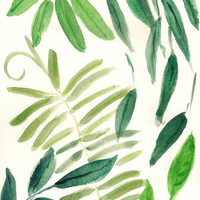 Green garden leaves 2 Botanical art print of original water color painting in  green hues, limited edition, garden,home decor