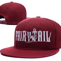 HAIHONG Fairy Tail Anime Logo Adjustable Snapback Embroidery Hats Caps - Red