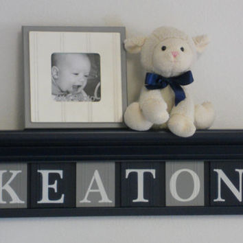 """Navy and Gray Nursery Decor - Baby Boy Gift - Personalized for KEATON - 24"""" Navy Blue Shelf with 6 Wood Wall Letters in Grey and Navy"""