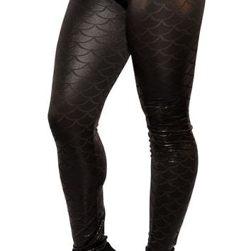BadAssLeggings Women's Mermaid Leggings Small Black