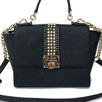 Michael Kors Tina Medium Studded Leather Chain Satchel Crossbody Bag Purse Black