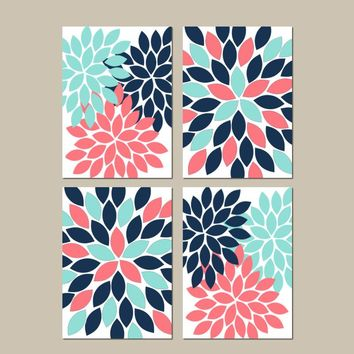 Coral Navy Aqua Wall Art, CANVAS or Prints Bathroom Decor, Decor Flower Burst Petals Dahlia Bloom Dorm Room Set of 4 Bedroom Pictures,