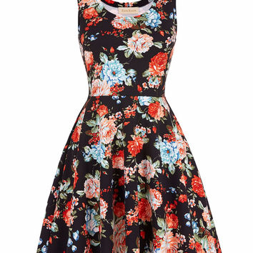 Women Summer Dress 2017 Retro Vintage plus size Stylish Slim Fit Vibrant floral pattern Casual Rockabilly 60s 50s Dresses