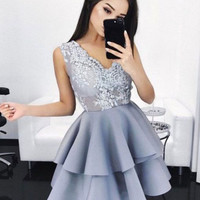 Gray Lace V Neck A Line Strapless Homecoming Dress, Homecoming Dress 2017