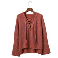SW158 Autumn Winter Flare Sleeve Knitted Women Sweater Lace up V Neck Pullover Sexy Jumpers Casual Loose Split knitwear Sweater