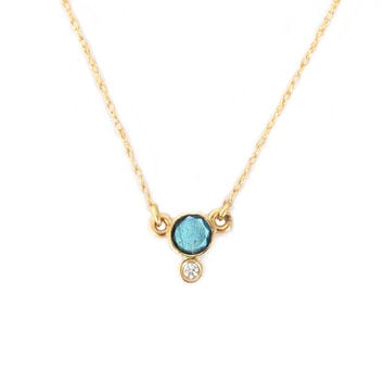 14kt Gold Labradorite and Diamond Drop Pendant