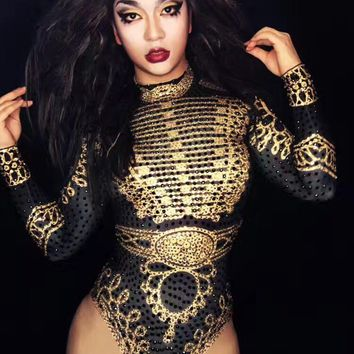 Sexy Beyonce Bodysuit Black Gold long Sleeve Leotard Outfits Stage Clothes for Singers Rhinestones Jumpsuit Costumes Dancers