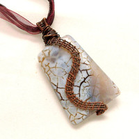 Agate Copper Pendant Necklace, Brown, White,Wire Wrapped Jewelry