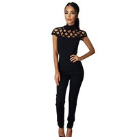 Black High Neck Caged Short Sleeve Jumpsuit