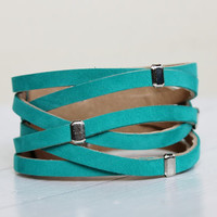 Braided  Turquoise Suede Cuff Bracelet